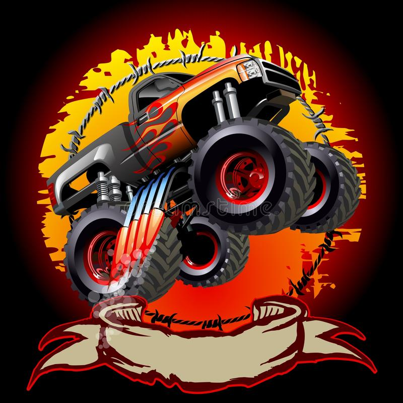 Cartoon Monster Truck. One-click repaint. Available EPS-10 vector formats separated by groups and layers for easy edit stock illustration