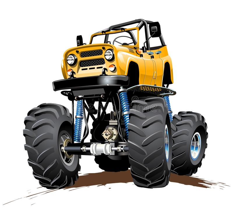 Cartoon Monster Truck one-click repaint stock illustration