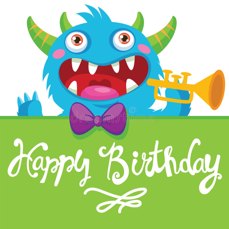 Cartoon Monster Vector Illustration. Funny Birthday Greeting Card. Birthday Theme. Pocket Monster. Monster Pipes. Noise Funny. royalty free stock image