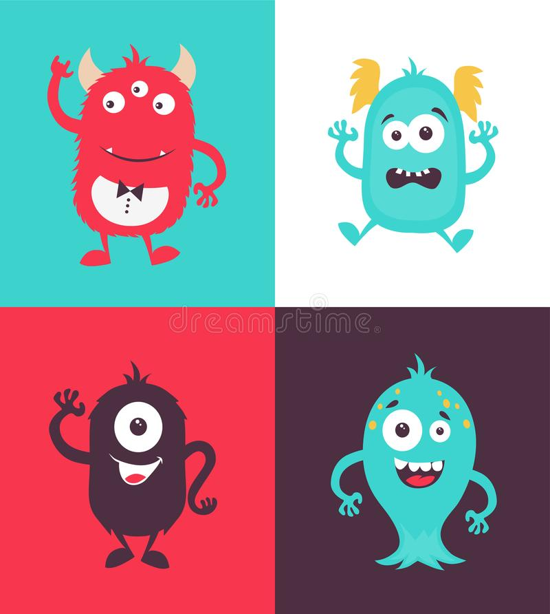 Cartoon Monsters collection stock illustration