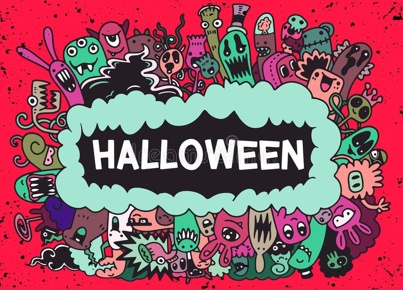 Cartoon Monsters collection. Vector set of cartoon monsters royalty free illustration