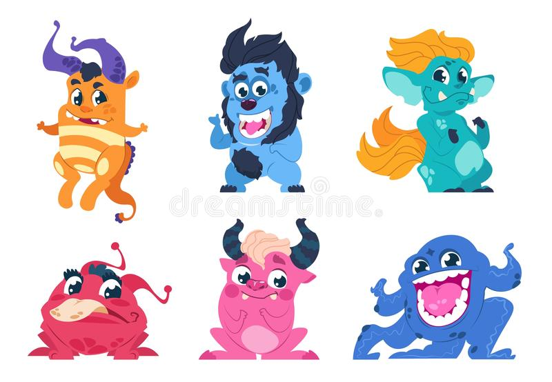Cartoon monsters. Cute little angry animals, mascot characters with smiles and troll faces for stickers and emblems. Vector goblin set party on birthday for stock illustration