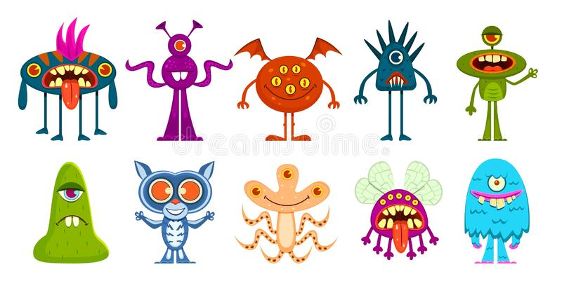 Cartoon monsters. Cute little goblins and gremlins, scary alien kids. Halloween cool monster characters, comic vector vector illustration