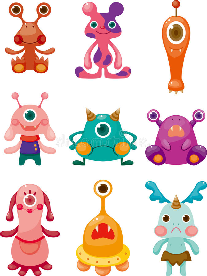 Download Cartoon Monsters icons set stock vector. Image of cute - 23081601