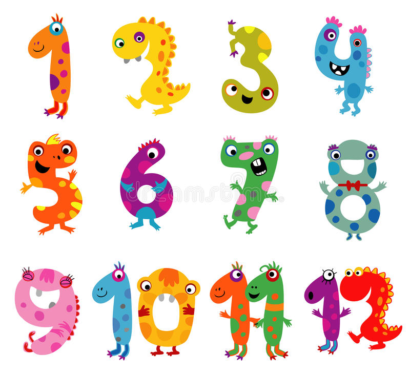 Cartoon monsters numbers vector illustration