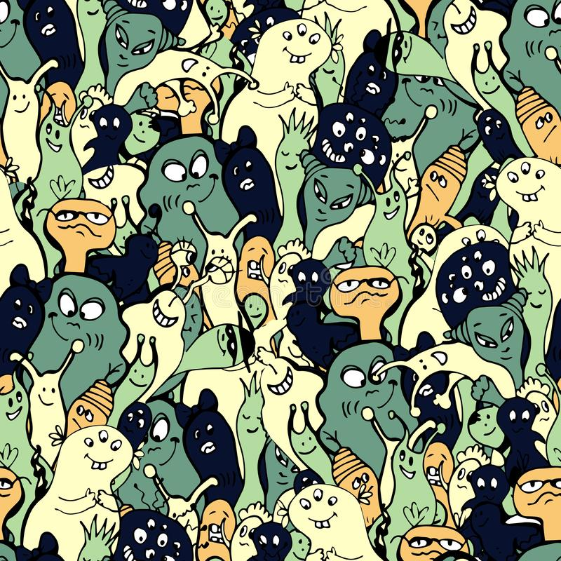 Cartoon monsters seamless pattern, hand draw doodle vector illustration. Repeatable pattern with cute monster, light. Vintage colors. Kids cartooning monster stock illustration