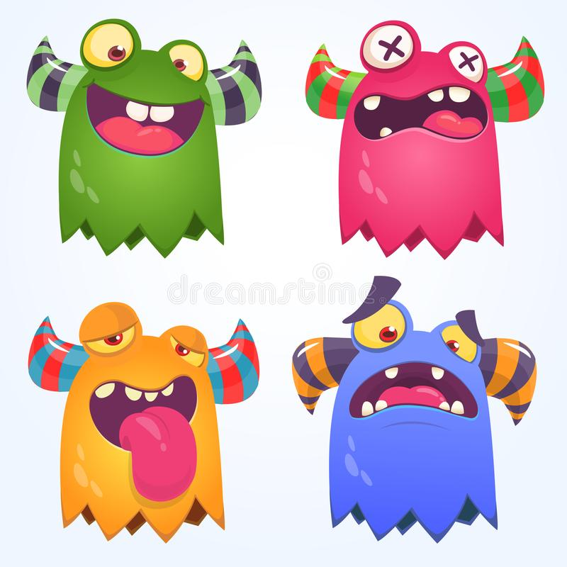 Cartoon Monsters set for Halloween. Vector set of cartoon monsters isolated. Design for print, party decoration, t-shirt. Illustration, emblem or sticker vector illustration