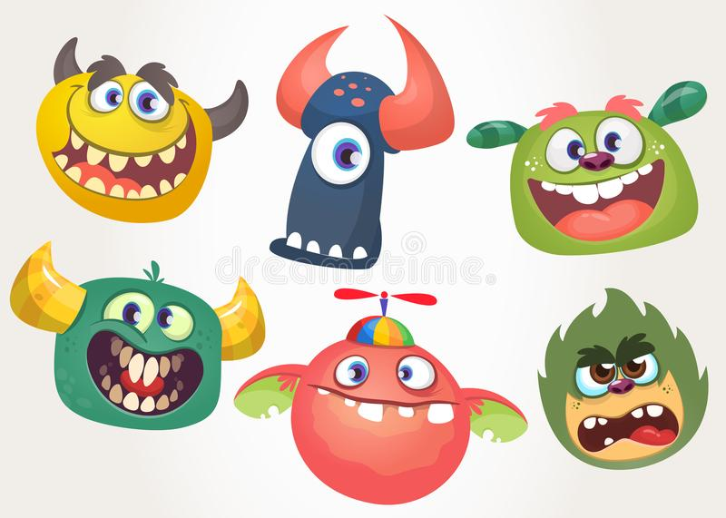 Cartoon Monsters set for Halloween. Vector set of cartoon monsters isolated. Design for print, party decoration, t-shirt, illustration, emblem or sticker royalty free illustration