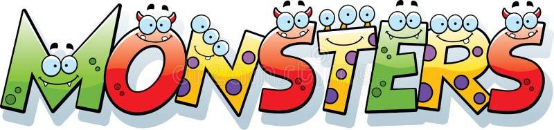 Cartoon Monsters Text stock illustration