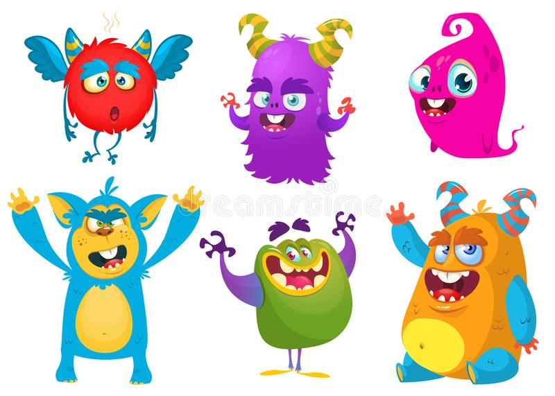 Cartoon Monsters. Vector set of cartoon monsters isolated. Design for print, party decoration, t-shirt, illustration, logo, emblem or sticker vector illustration