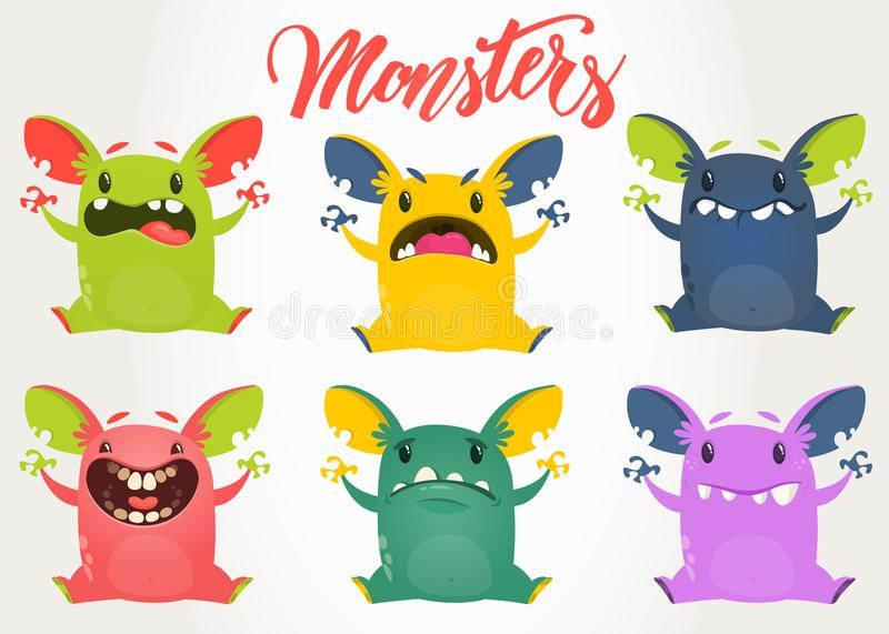 Cartoon monsters. Vector set of cartoon monsters with different face expressions. Cartoon monsters collection. Vector set of cartoon monsters with different face royalty free illustration
