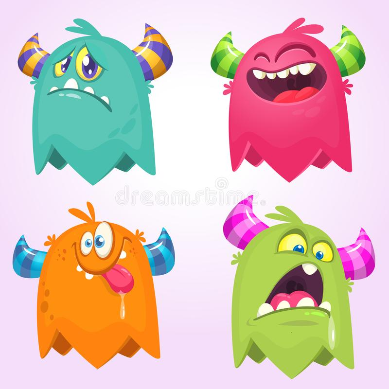 Cartoon Monsters. Vector set of cartoon monsters isolated. Design for print, party decoration, t-shirt, illustration, logo, emblem. Or sticker vector illustration