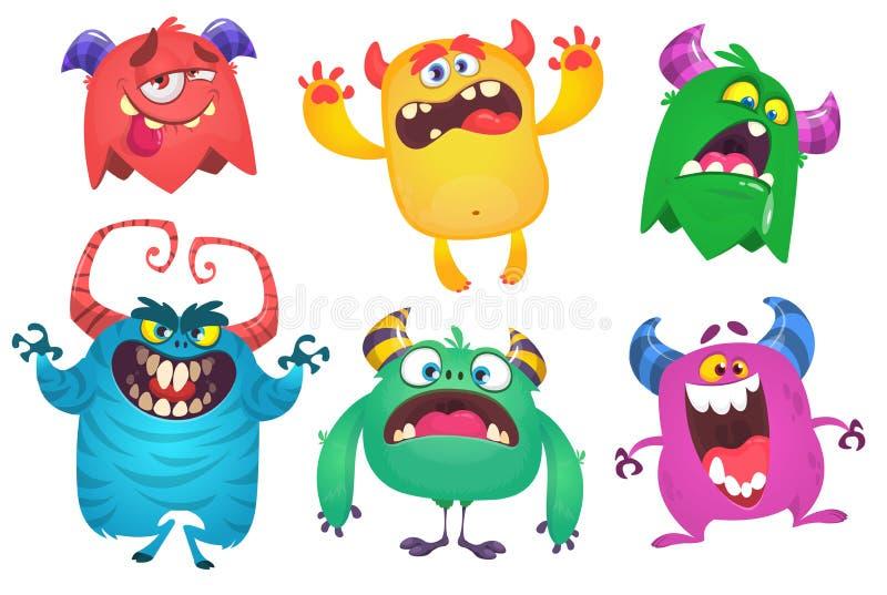 Cartoon Monsters. Vector set of cartoon monsters isolated. Design for print, party decoration, t-shirt, illustration, logo, emblem. Or sticker vector illustration