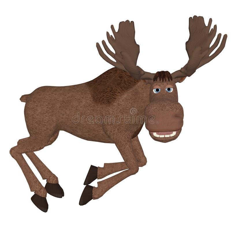 Cartoon moose, jumping stock illustration