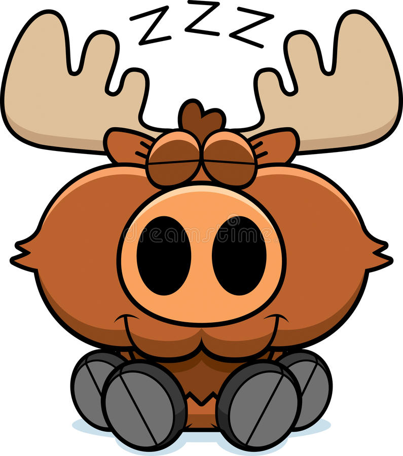 Cartoon Moose Napping vector illustration