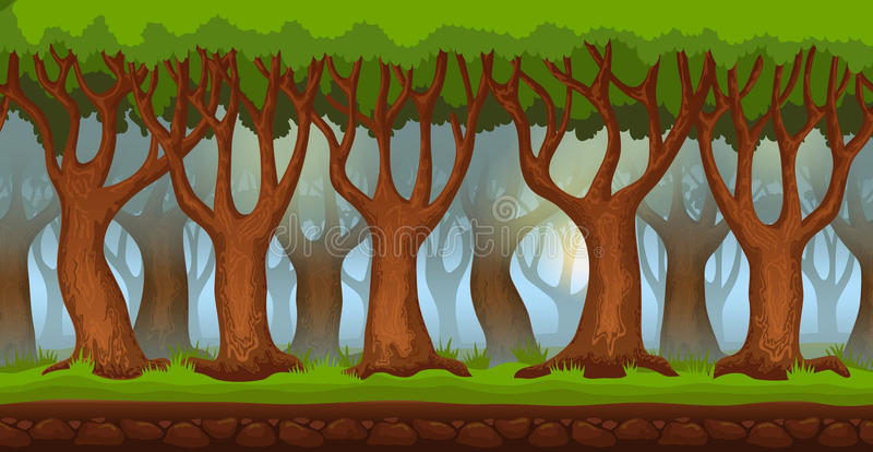 Cartoon morning forest video game background vector illustration