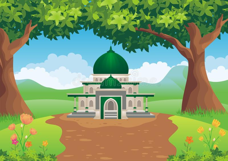 Cartoon mosque on the hill stock illustration