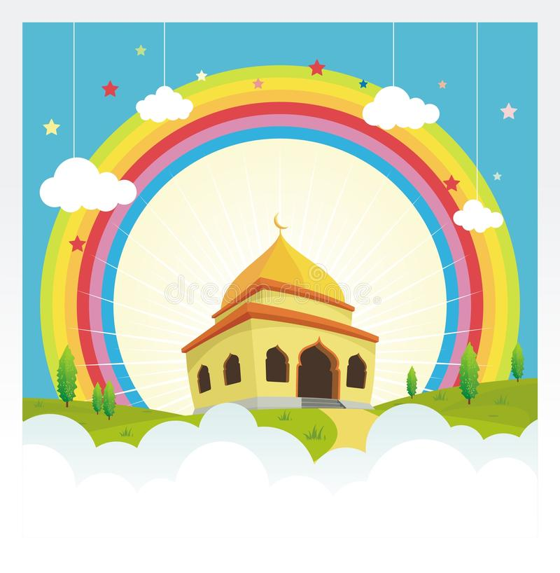 Cartoon mosque with rainbow on the sky and cloud vector illustration