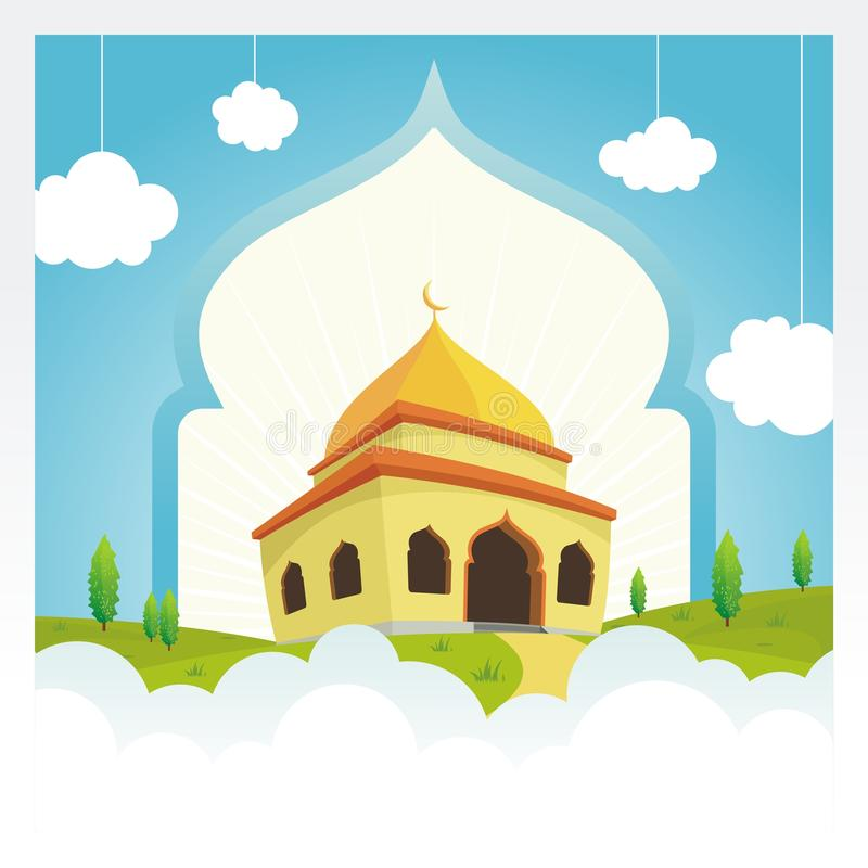 Cartoon mosque on the sky and cloud royalty free stock images