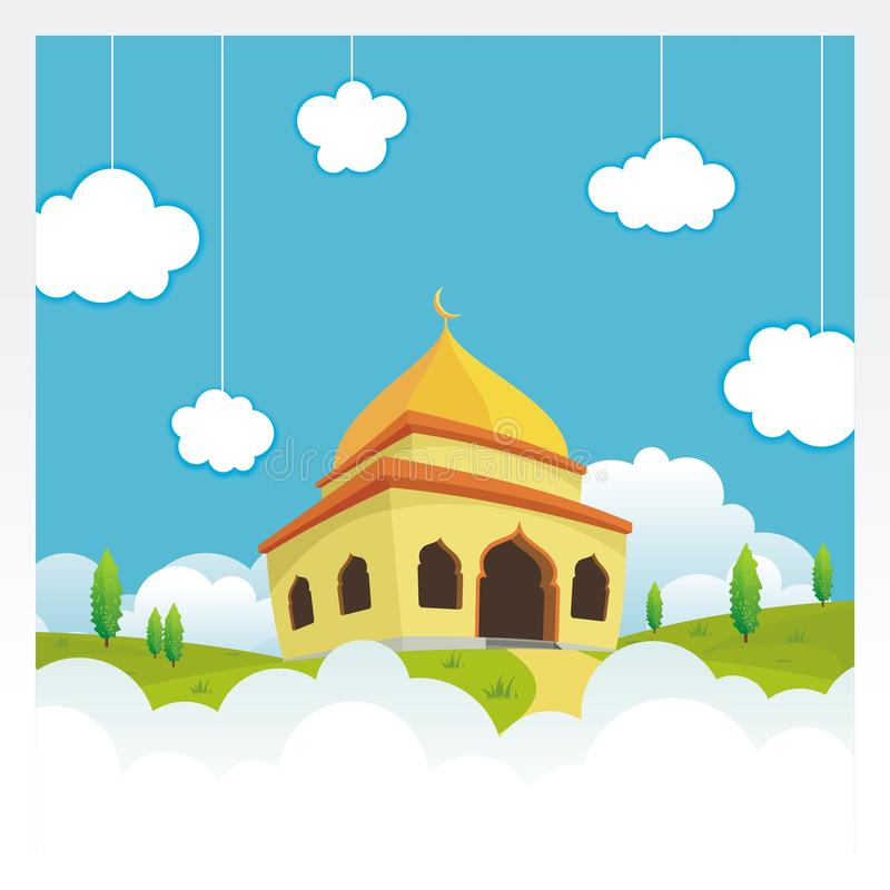 Cartoon mosque on the sky and cloud vector illustration