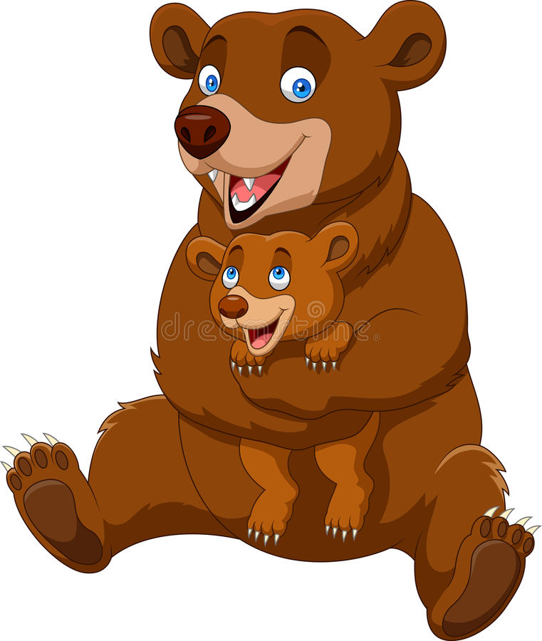 Cartoon mother and baby brown bear royalty free illustration