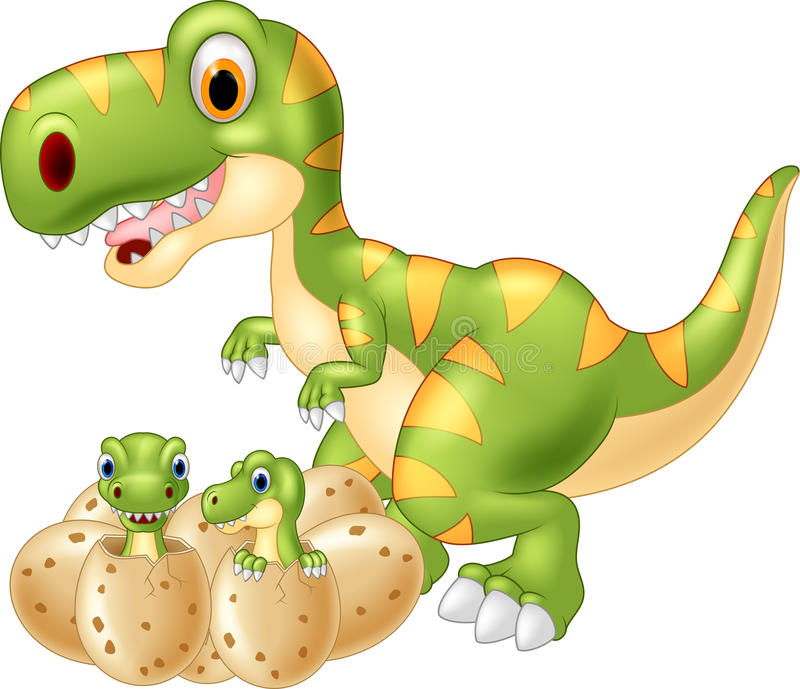 Cartoon Mother and baby dinosaur hatching. Illustration of Cartoon Mother and baby dinosaur hatching on white background vector illustration
