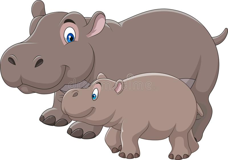 Cartoon mother and baby hippo stock illustration