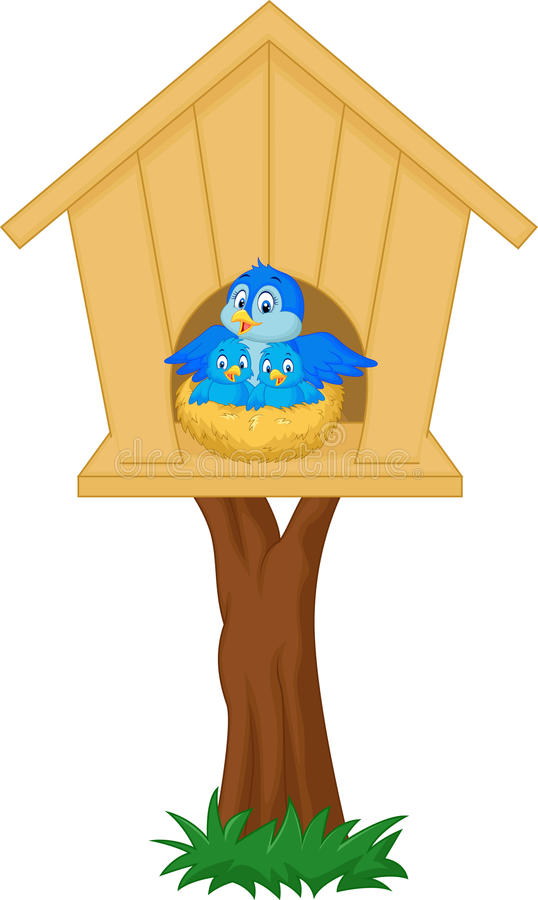 Cartoon Mother bird with her two babies in the nest. Illustration of Cartoon Cartoon Mother bird with her two babies in the nest vector illustration