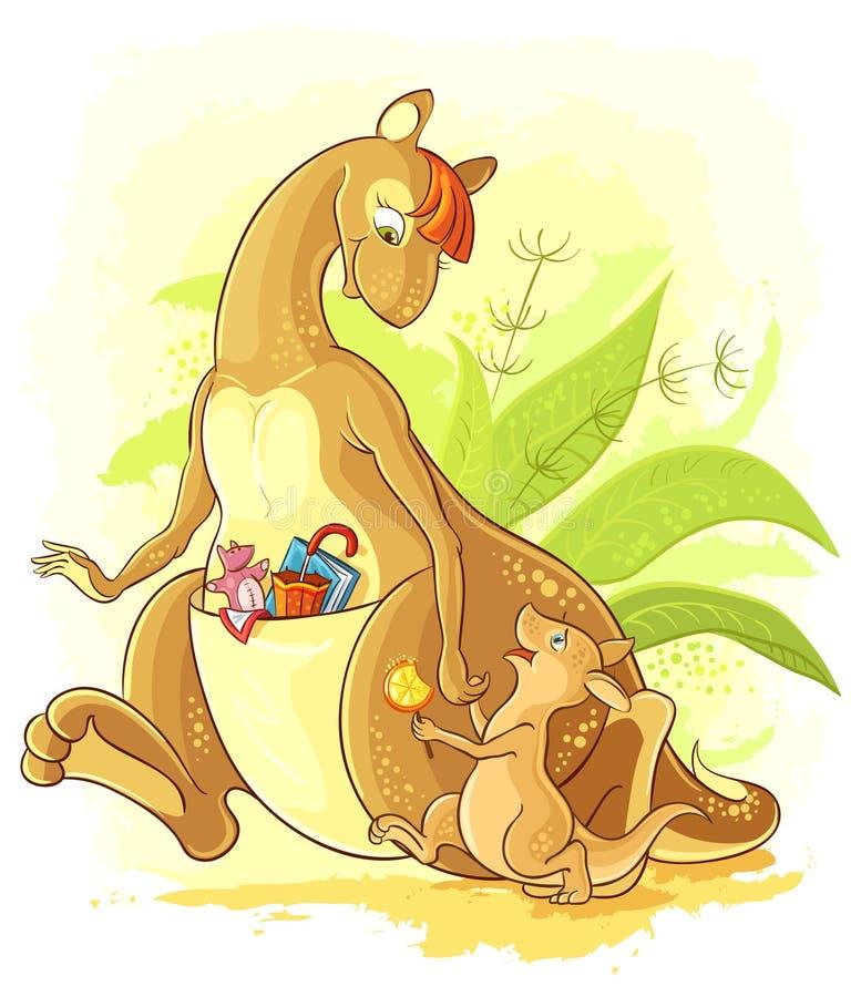 Cartoon Mother Kangaroo With Her Baby Walk Royalty Free Stock Photos