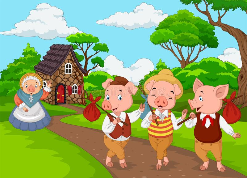 Cartoon mother pig with three little pigs stock illustration