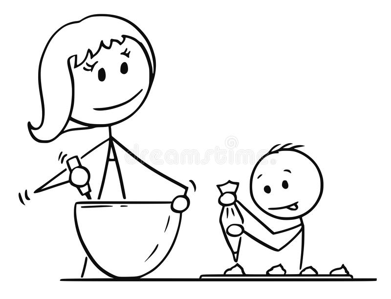 Cartoon of Mother and Son Cooking or Baking Together. Cartoon stick man drawing conceptual illustration of mother or mom and son cooking or baking together in vector illustration