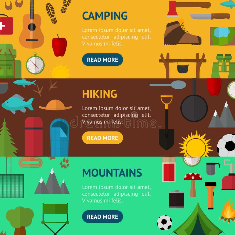 Cartoon Mountain Hike Elements Banner Horizontal Set . Vector vector illustration