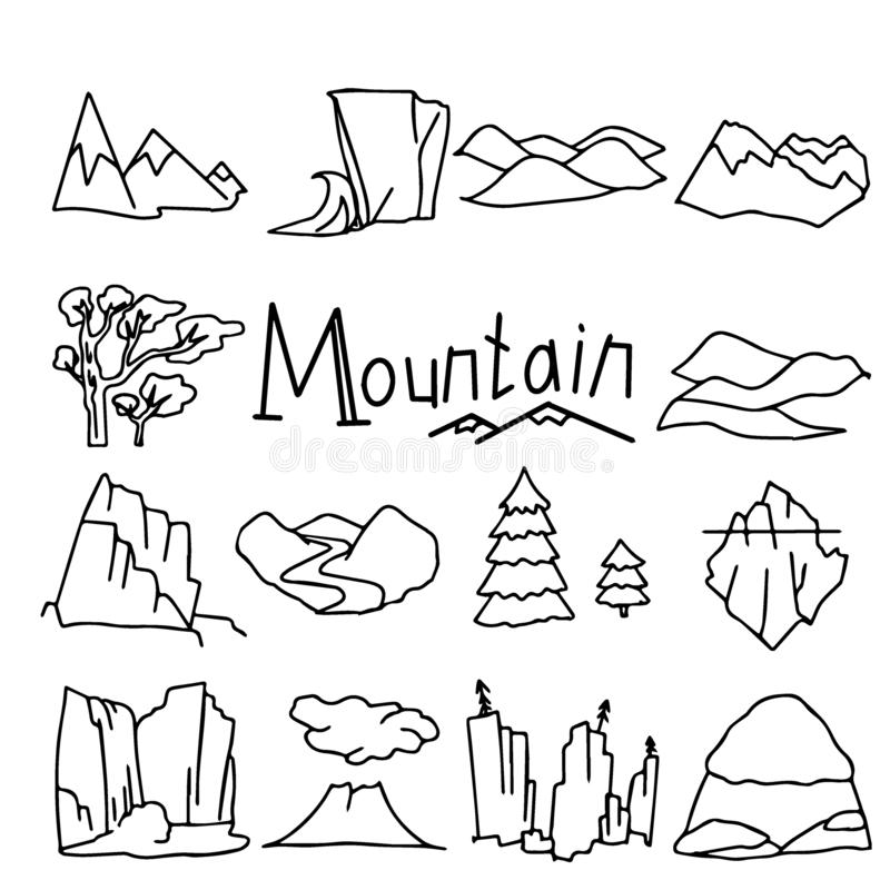 Cartoon mountain landscapes set with desert hills stock illustration