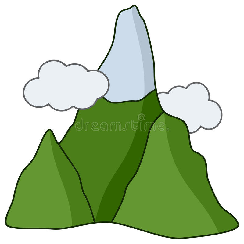Cartoon Mountain with Snow & Clouds Icon vector illustration