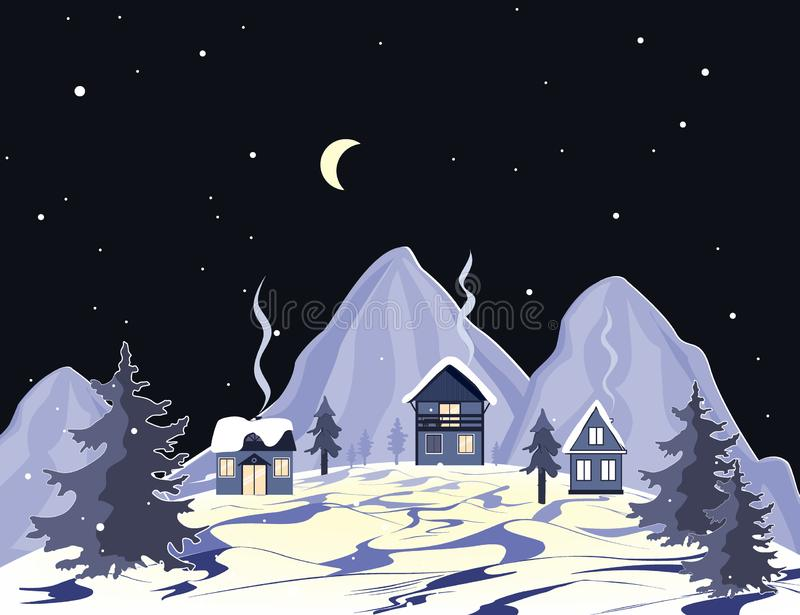 Cartoon mountains landscape with houses and trees at night. Perfect for cards, invitations, wallpaper, banners, children vector illustration