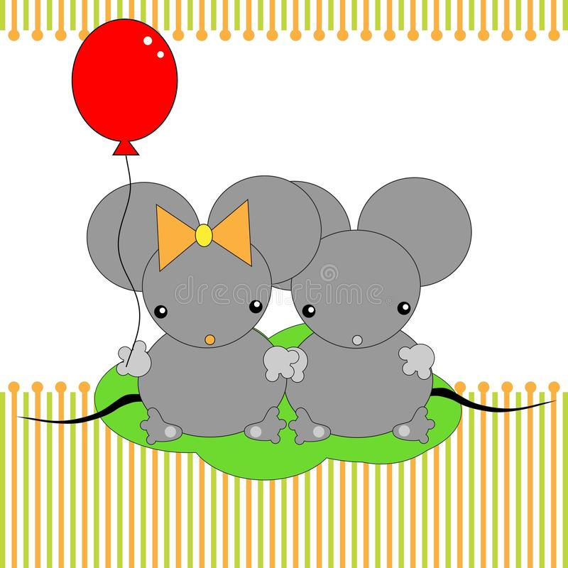 Cartoon mouse. Cute little mouses with ball royalty free illustration