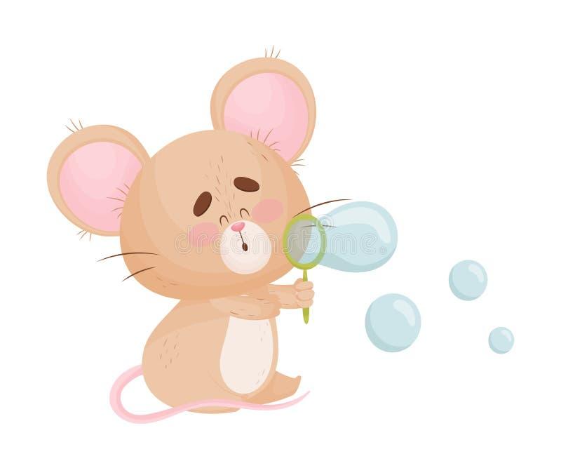 Cartoon mouse blows soap bubbles. Vector illustration. Cute humanized mouse blows transparent soap bubbles. Vector illustration vector illustration