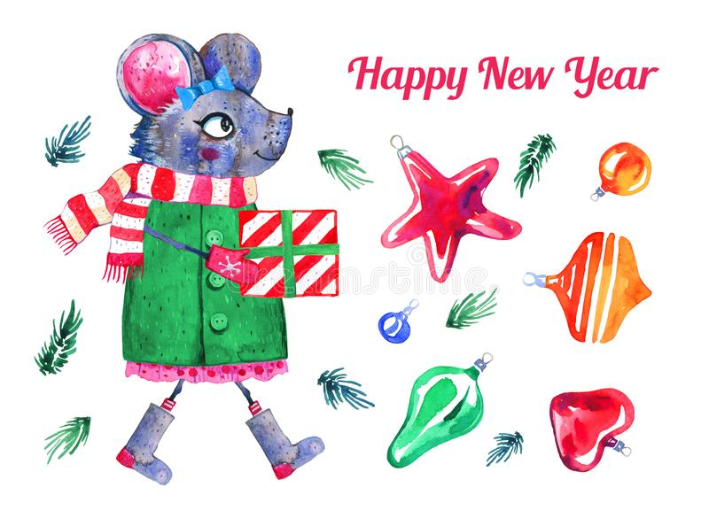 Cartoon mouse character and Christmas toys. Hand drawn watercolor illustration set. 2020 Chinese New Year of  the Rat vector illustration