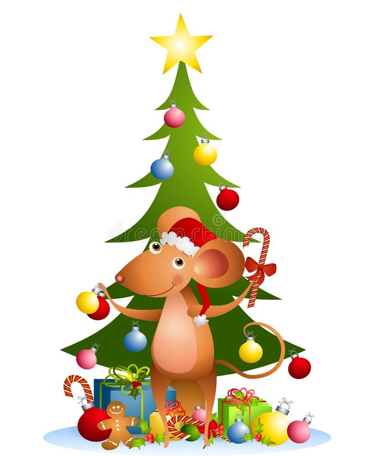 Cartoon Mouse Christmas Tree stock illustration