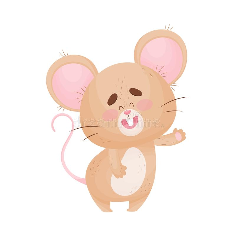 Cartoon mouse greets and waves a hand. Vector illustration. Cute humanized mouse waves its hand in greeting. Vector illustration stock illustration