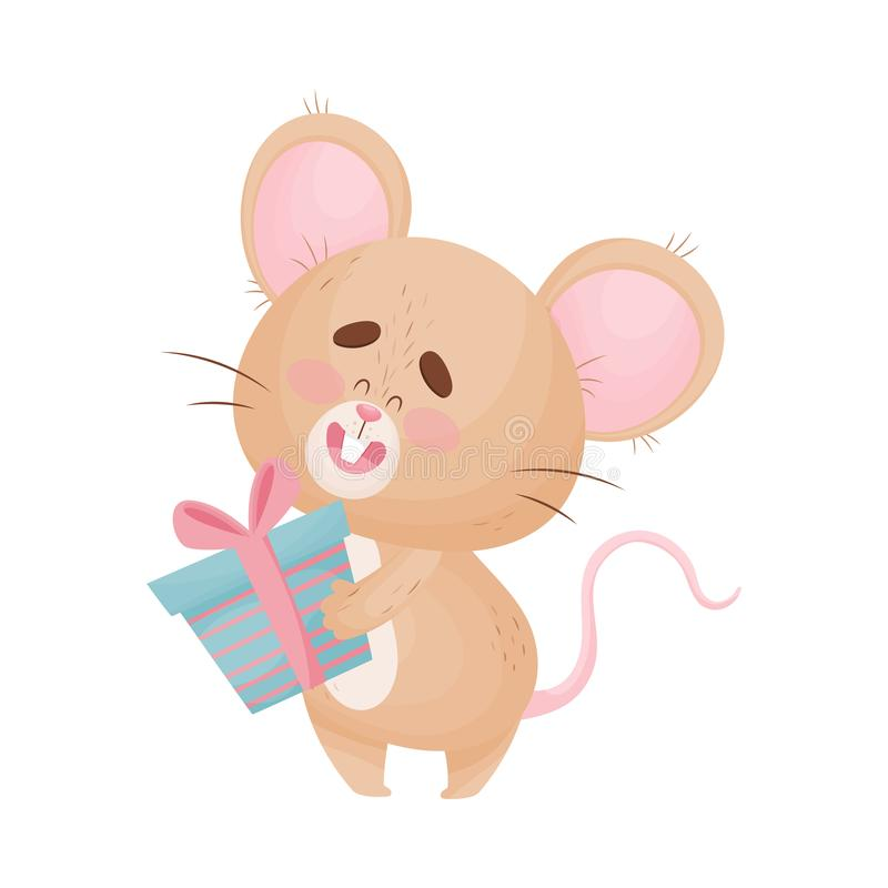 Cartoon mouse holds a gift. Vector illustration. Cute humanized little mouse is holding a blue striped gift with a pink ribbon. Vector illustration stock illustration