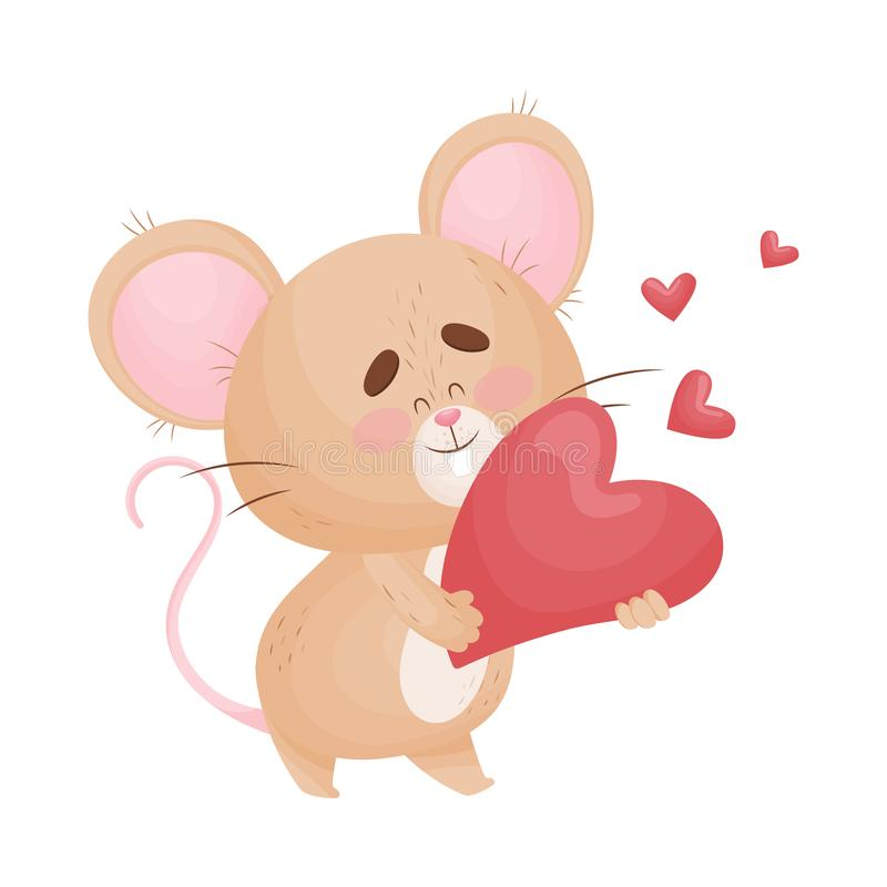 Cartoon mouse holds in his hands more heart. Vector illustration. Cute humanized little mouse is holding a big red heart. Vector illustration stock illustration