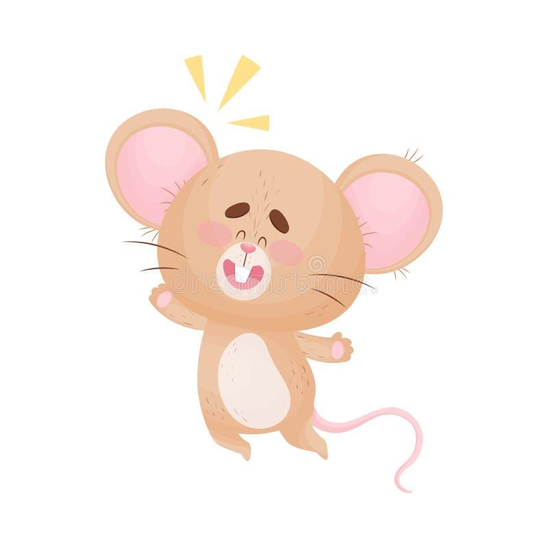 Cartoon mouse joyfully jumped up. Vector illustration. Cute humanized mouse joyfully bounced up. New idea has come. Vector illustration stock illustration