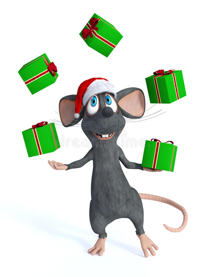 Cartoon mouse juggling Christmas gifts. royalty free illustration