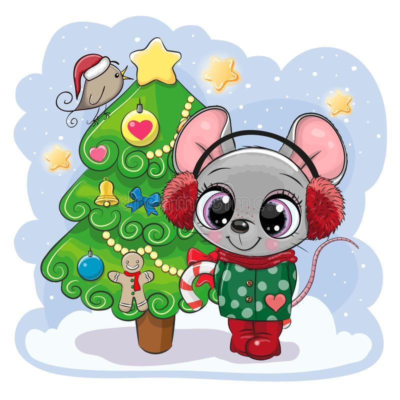 Cartoon mouse is near the Christmas tree royalty free illustration