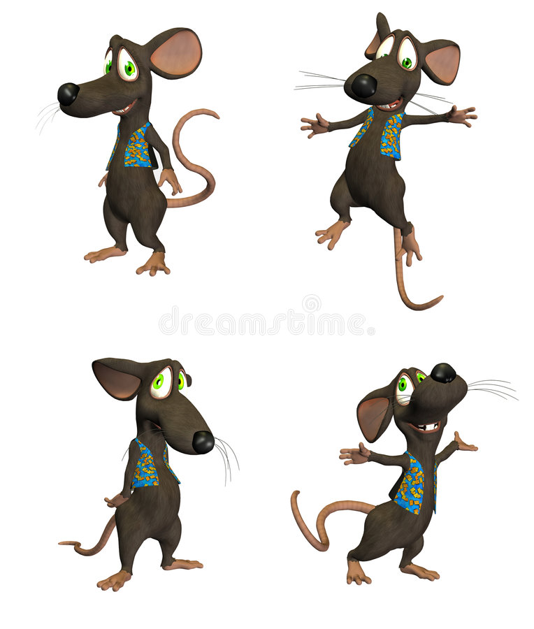Cartoon Mouse - pack1. Cartoon Mouse - 4 different poses on a white background
