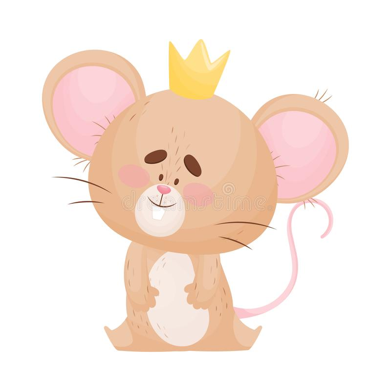 Cartoon mouse sits with a crown on its head. Vector illustration. Cute humanized mouse with a golden crown on his head is sitting. Vector illustration stock illustration
