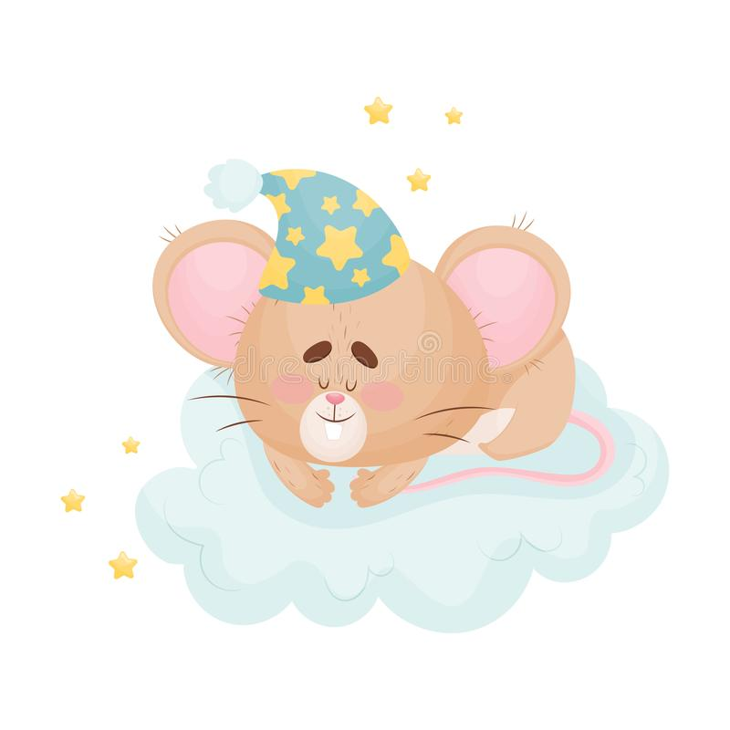 Cartoon mouse sleeping on a cloud. Vector illustration. Cute humanized mouse with a nightcap on his head sleeps on a large soft cloud. Vector illustration royalty free illustration