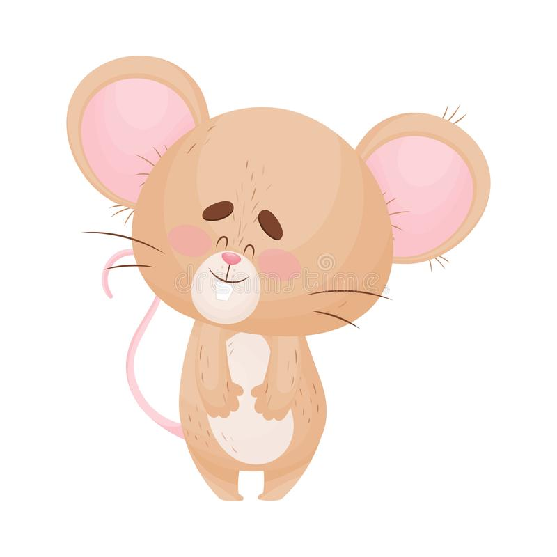Cartoon mouse is standing and smiling. Vector illustration. Cute humanized mouse is standing and smiling. Front view. Vector illustration stock illustration