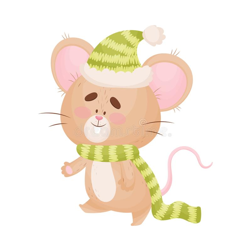 Cartoon mouse in a warm hat and scarf. Vector illustration. Cute humanized mouse in a warm green striped hat and scarf. Vector illustration stock illustration